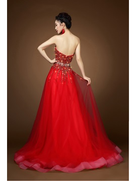 Shining A-Line Beading Sweetheart Floor-Length Tulle Evening Dress