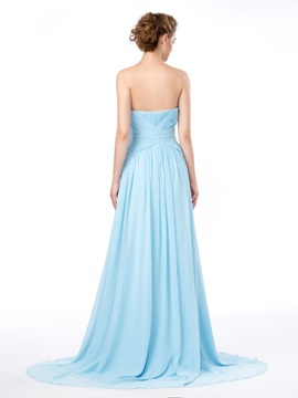 Chraming Strapless Ruched Sequins A-Line Long Evening Dress Designed