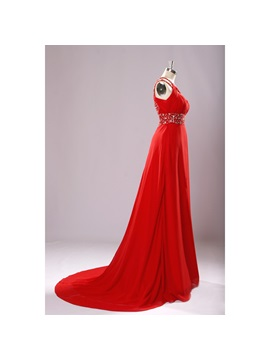Round Neckline Beading Split-Front A-Line Court Train Long Evening Dress