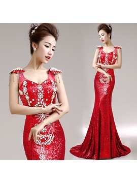 Luxurious Mermaid Straps Sequins Crystal Lace-up Long Evening Dress