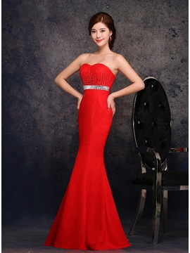 Dazzling Strapless Trumpet Lace Beading Zipper-up Long Evening Dress