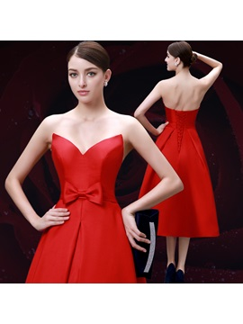 Modern Sweetheart Bowknot A-Line Tea-Length Evening Dress
