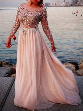 Gorgeous Scoop Sequins Beading Long Sleeves Evening Dress