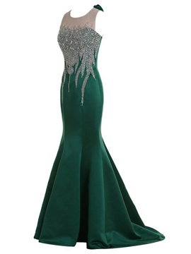 Mermaid Tulle Neck Crystal Bowknot Sweep Train Long Evening Dress
