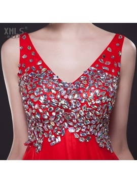 Luxurious V-Neck Beading A-Line Court Train Long Evening Dress