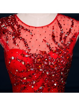 Amazing Scoop Neck Beading Hollow Red Mermaid Evening Dress