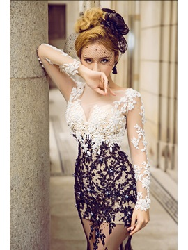 Scoop Long Sleeves Appliques Beading Mermaid Evening Dress