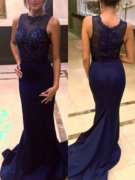Straps Appliques Beading Mermaid Evening Dress