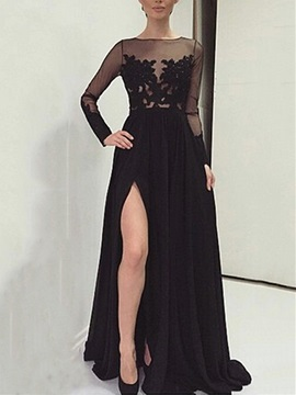 A-Line Bateau Long Sleeves Appliques Evening Dress