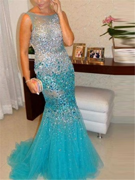 Luxurious Straps Beading Crystal Mermaid Evening Dress