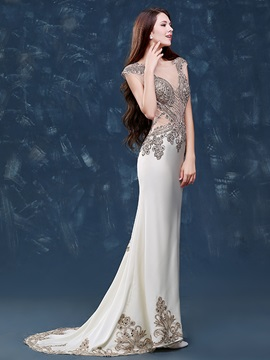 Luxurious Scoop Neck Beading Appliques Mermaid Evening Dress