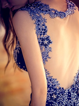 Luxurious Straps Beading Appliques Sheer Back Mermaid Evening Dress