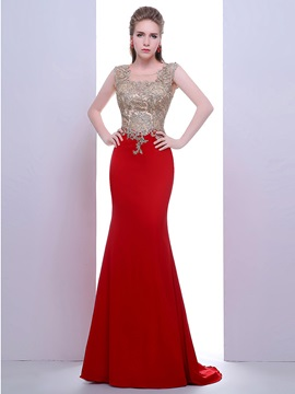 Scoop Neck Appliques Beading Red Evening Dress