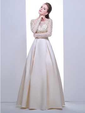Scoop Neck Long Sleeves Pearls Lace Evening Dress