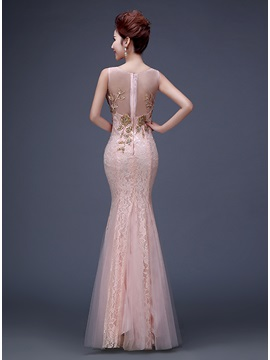 Vingtage V-Neck Appliques Beading Lace Evening Dress