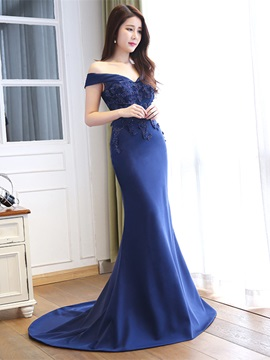 Off the Shoulder Appliques Beading Mermaid Evening Dress