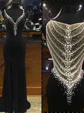 Luxurious Straps Pearls Sheath Black Evening Dress