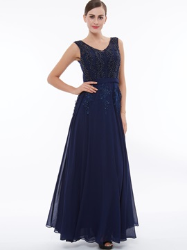 V-Neck Appliques Beading Long Evening Dress