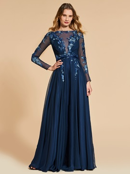 A-Line Bateau Appliques Beading Sequins Long Sleeves Evening Dress 2019