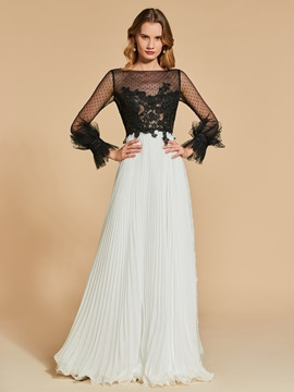 Bateau A-Line Lace Pleats Long Sleeves Evening Dress