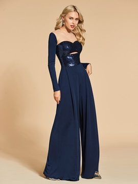 A-Line Long Sleeves Sequins Evening Jumpsuits