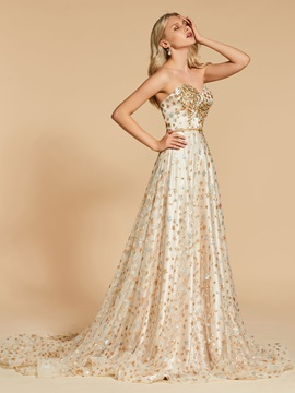Beading A-Line Sweetheart Lace Sashes Evening Dress