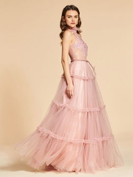 Sashes Jewel A-Line Lace Evening Dress