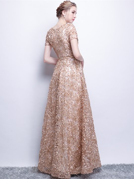A-Line Lace Scoop Sashes Evening Dress