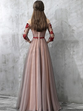 A-Line Off-the-Shoulder Appliques Sashes Evening Dress 2019