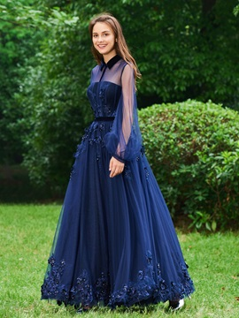 A-Line High Neck Button Appliques Beading Evening Dress