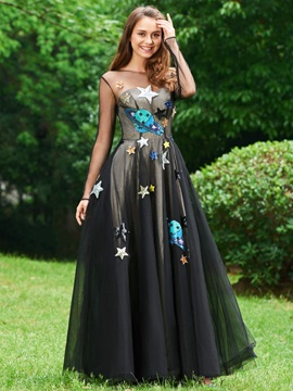 A-Line Scoop Appliques Cap Sleeves Evening Dress