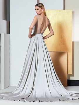 A-Line V-Neck Beading Backless Evening Dress