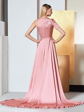 A-Line Scoop Bowknot Sashes Split-Front Evening Dress