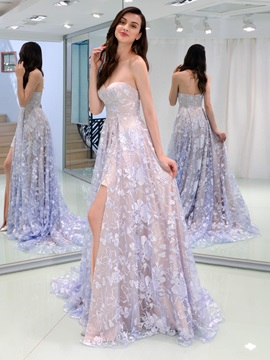 A-Line Sweetheart Lace Evening Dress