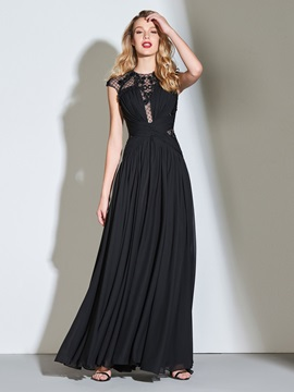 A-Line Cap Sleeves Button Appliques Evening Dress