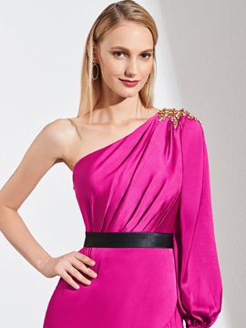 A-Line One-Shoulder Beaded Split-Front Evening Dress