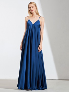 A-LIne Spaghetti Straps Bowknot Evening Dress