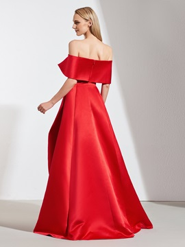 A-Line Off-the-Shoulder Pick-Ups High Low Evening Dress 2019