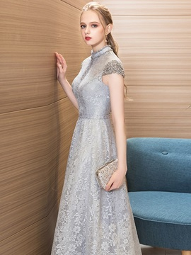 A-Line Beading Lace High Neck Evening Dress 2019