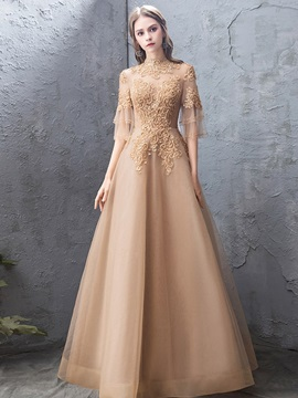 Appliques A-Line High Neck Evening Dress 2019
