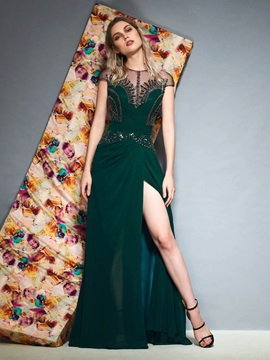 Scoop Cap Sleeves Pick-Ups Floor-Length Evening Dress 2019
