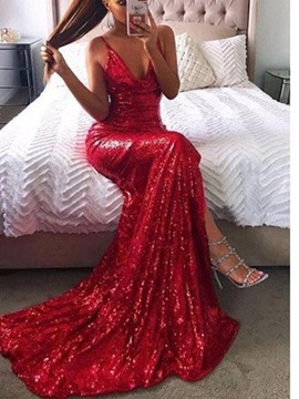 V-Neck Split-Front Red Sequins Evening Dress