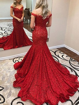Off-The-Shoulder Mermaid Lace Red Evening Dress 2019