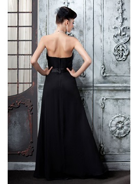 Elegant Black Pearls Halter Floor-Length Polina's Evening Dress