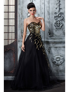 Fabulous A-Line Sweetheart Sequins Polina's Long Evening Dress