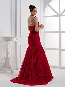 Amazing Mermaid One-Shoulder Flower Ruched Lace-up Sweep Train Long Evening Dress