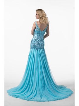 Glittering Mermaid V-Neck Beading Court Train Tulle Zipper-up Floor-length Evening Dress