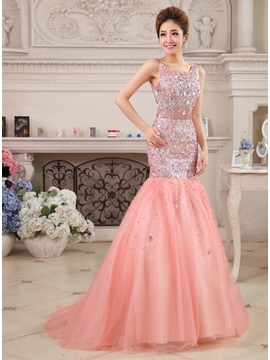 Stylish Mermaid Beaded Straps Sequins Sweep Train Long Evening Dress