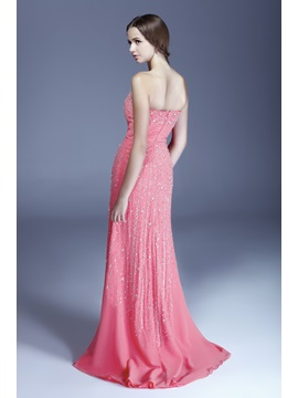 Pretty Sheath Strapless Neckline Beading Floor-Length Aleksander's Evening Dress