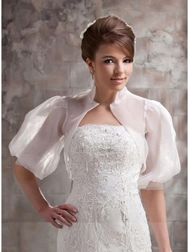 Unique Half Sleeve White Wedding Bolero/Jacket